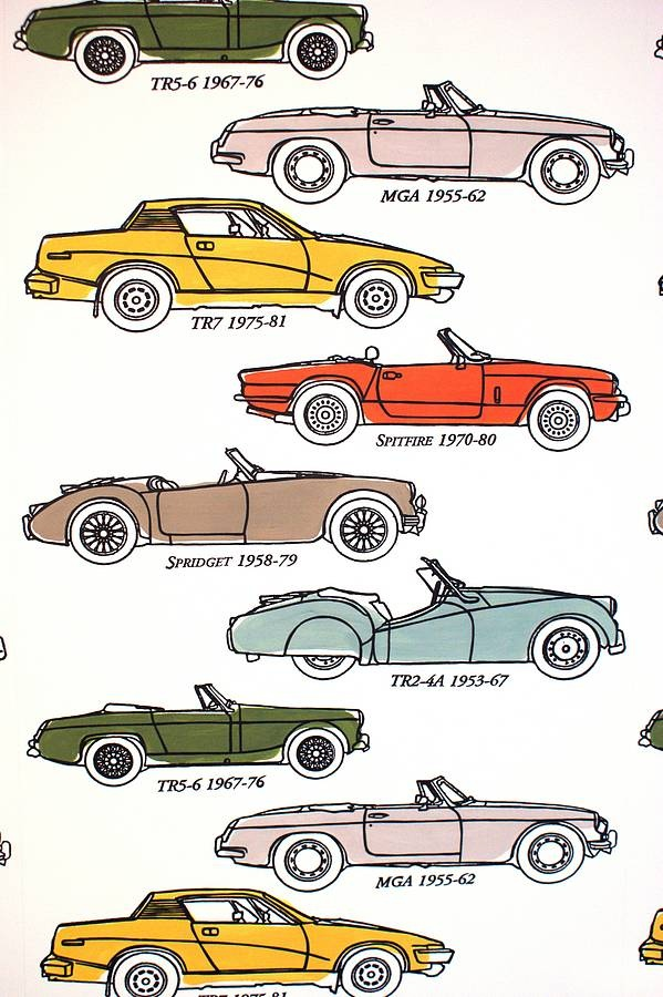 Hand Printed Car Wallpaper