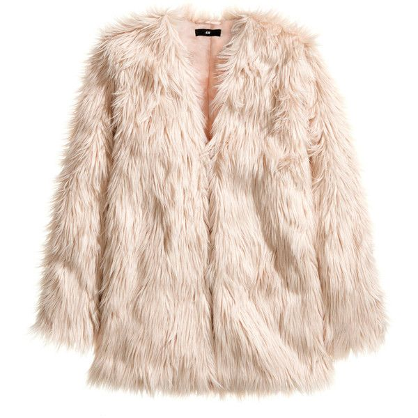 H&M Fake fur jacket ($18) ❤ liked on Polyvore featuring outerwear, jackets, coats, fur, dusty pink, h&m, pink jacket, faux fur lined jacket, lined jacket and faux fur jacket