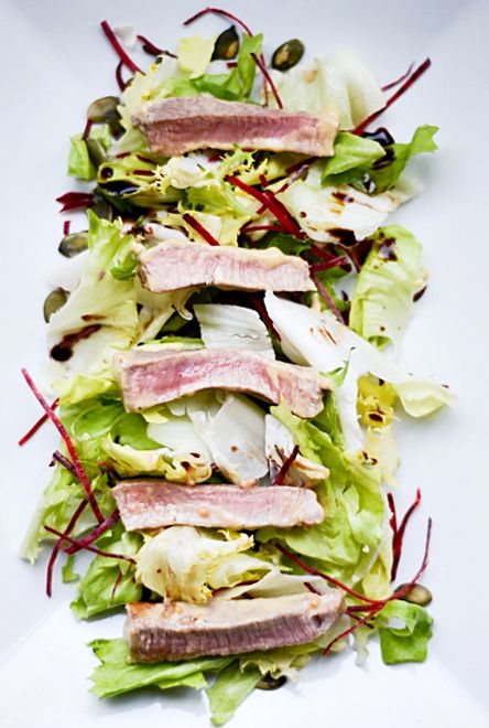 Chef salad with beef and mustard sauce