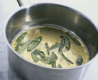 Sage butter sauce in pan - Dorling Kindersley/Getty Images