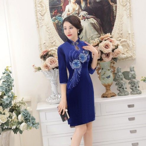 Saphire Blue Half Sleeve Knee Length Cheongsam Floral Evening Dress