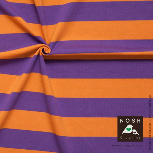 NOSH Stripes, Orange/Lilac. Organic cotton jersey