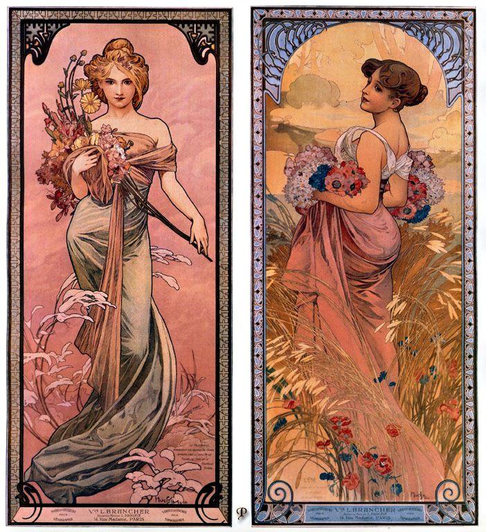 the-seasons-spring-summer-1898 Alphonse Mucha. | Alphonse ...
