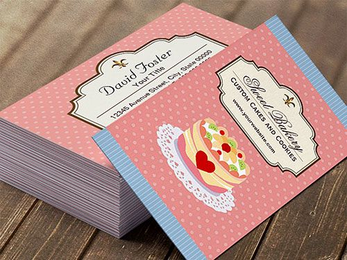Custom Cakes Bakery Business Card Template