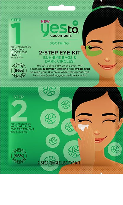 yes to cucumbers 2-STEP SINGLE USE EYE KIT BUH-BYE BAGS & DARK CIRCLES! MSRP: $3.99 FOR: SENSITIVE SKIN SIZE: 2 EYE MASKS & ANTI-DARK CIRCLE EYE TREATMENT 0.25 fl oz / 8 mL