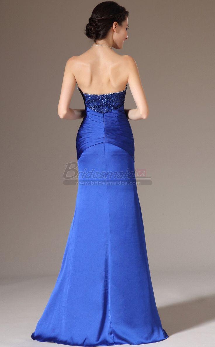 #bridesmaiddresses Royal Blue Long Chiffon and Lace Sweetheart Neckline Mermaid Bridesmaid Dress with Long Sleeve JT-CA1392