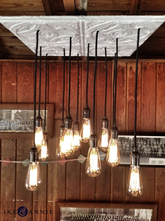 Tin Tile Edison Bulb Chandelier--Tin Tile, Edison Bulbs, Vintage Cloth Covered Wire, Antiqued Brass Sockets by ikeandannie on Etsy, $425.00