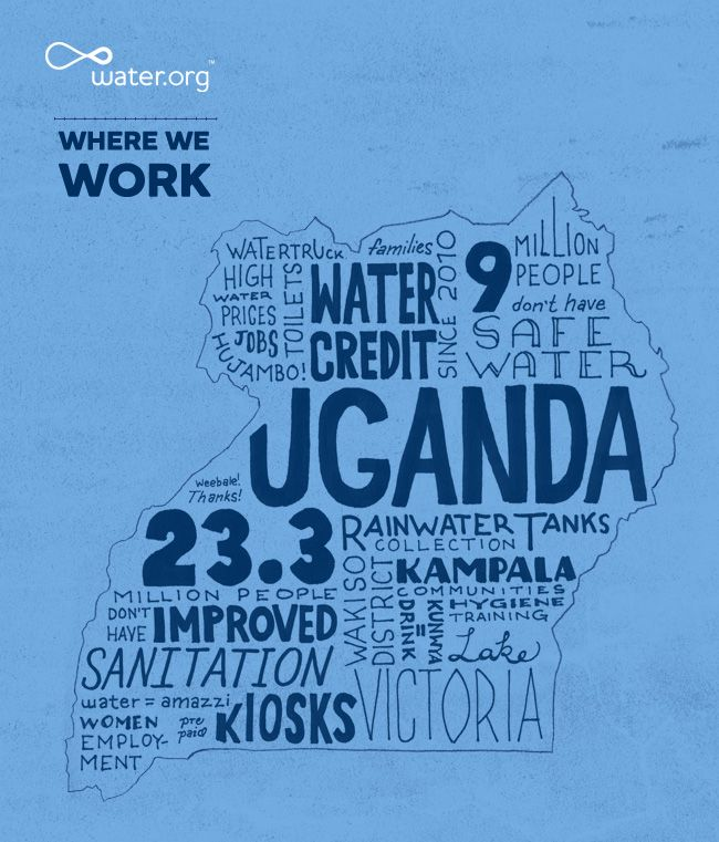 Uganda | 23.3 million people do not have access to improved sanitation facilities. | #WhereWeWork | Water.org: Water Org, Improvements Sanitizer, Sanitizer Facile