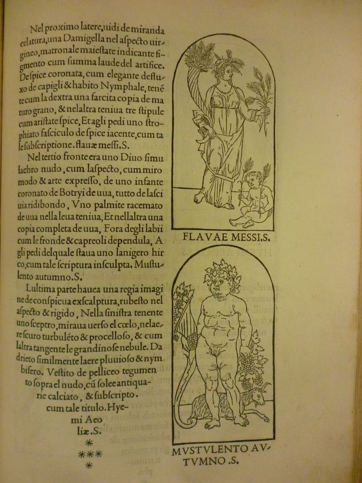 Page with woodcut of Ceres or the goddess of harvest, from Hypnerotomachia Poliphili. Aldi Manutii: Venetiis, 1499 Venice,