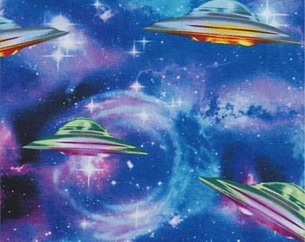 Timeless Treasures Fabric, UFOs, UFO Spaceships on blue, 100% cotton