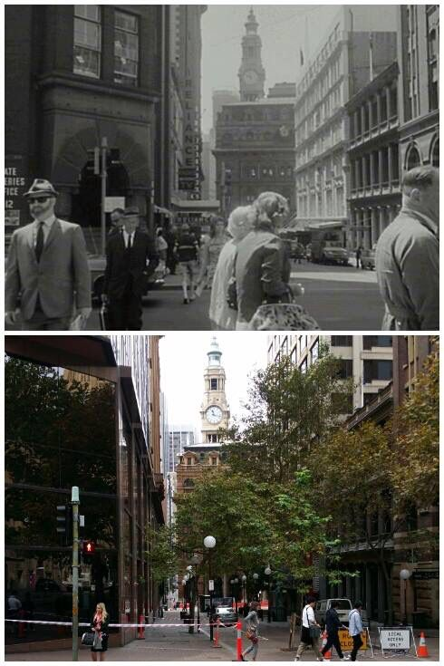 The York and Barrack Streets intersection, looking down to the GPO 1969 > 2016. [City of Sydney > Allan Hawley. By Allan Hawley]