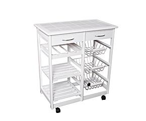 Mueble de cocina con 3 cestas, 3 estantes y 2 cajones - Blanco