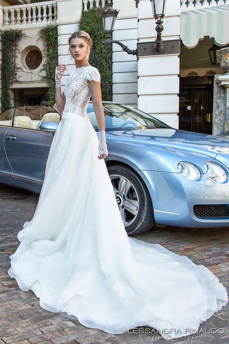 alessandra rinaudo 2017 mancherons de mariée encolure bateau corsage largement embelli romantique une robe de mariée en ligne dentelle de retour train chapelle (Berta) mv