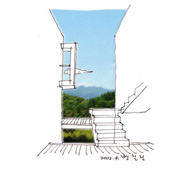 산빛마당드로잉/방철린 View from the  entrance deck  of the guest zone -- the Sanvit-madang  by Bang, Chulrin /Architect Group CAAN