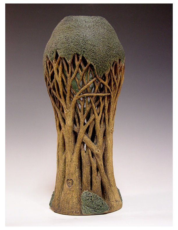 Hand carved tree vase by linda nowell