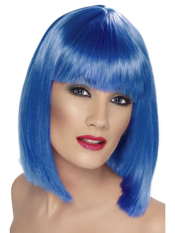 "26"" Blue Glam Short Blunt Fringe Women Adult Halloween Wig Costume Accessory - One Size - 33485531"