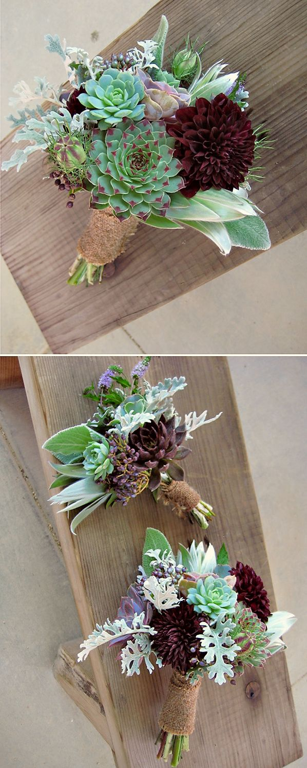 bride & bridesmaid's purple & green succulent wedding bouquets made with dark eggplant dahlias contrasting with soft silvery foliag lambs' ear, dusty miller, leucadendron, nigella,metallic purple viburnum berries and blooming mint