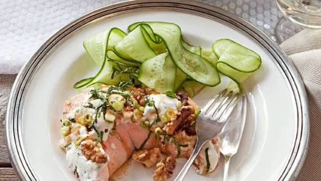Try this salmon salad made by Karen Martini for a healthier choice.