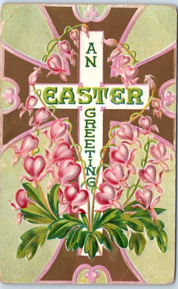 Vintage Embossed Holiday Postcard AN EASTER GREETING Cross Pink Flowers c1910s