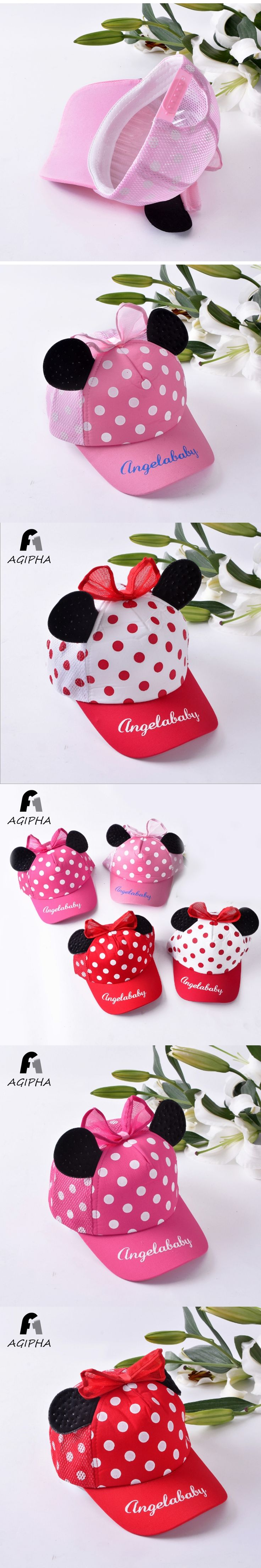 Cotton Lovely Cartoon Baseball Cap For Girls Boys Letter Pattern Bowknot Cute Ears Style Kids Sun Hat Breathable Baby Cap Summer