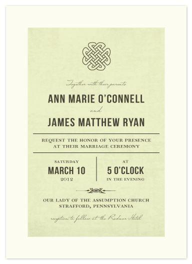 Simple Irish Wedding Invite