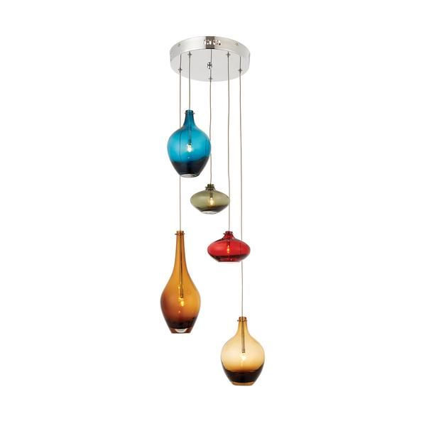 Brazil Inspired...A 5 light ceiling pendant with a polished chrome finish complete with hanging multi coloured glass shades. Adjustable height at time of fitting  Finish: Chrome Effect Plate & Multi Coloured Glass Material: Steel & Glass Dimensions: 800-1150mm adjustable drop x 250mm diameter Voltage: 220-240V Bulb Details: 5 x 20W G4 clear capsule Bulb Included: No Dimmable: Non-dimmable Control Gear: LV electronic transformer Included