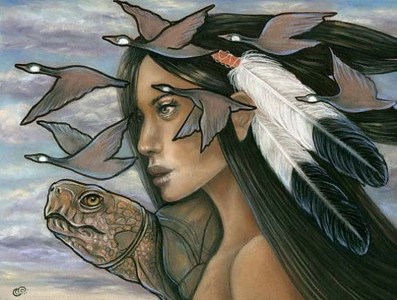 Sky Woman Iroquois Native American Mythology by MoonSpiralart/ Tammy Mae Moon