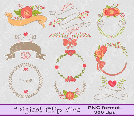 Digital Flower Clip art wedding badges wedding by digitalcliparts