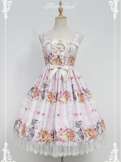3d92cf28707c4 86.70]Custom Size Available Cute Rabbits Printed Sweet Lolita JSK ...