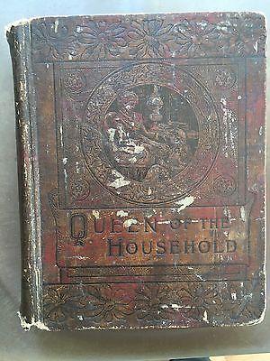 Queen Household Antique Cookbook Victorian  Housekeeping Formulas Recipes, 1890