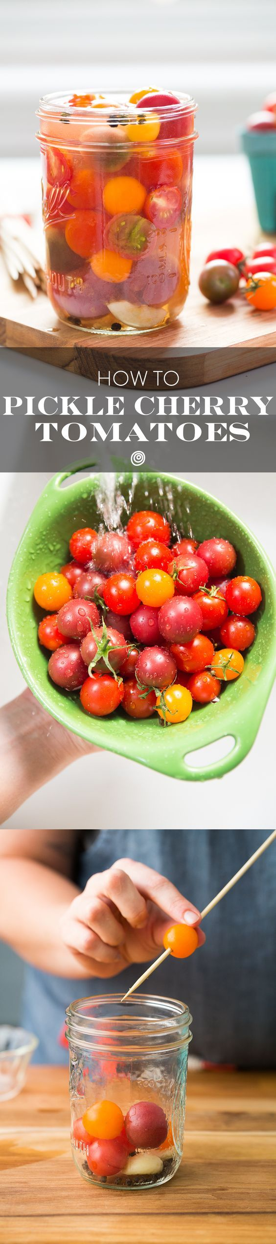 Pickled Cherry Tomatoes are a DELICIOUS and simple way to use up a bunch of tomatoes. Preserve them easily and quickly. They're absolutely wonderful added to salsas.