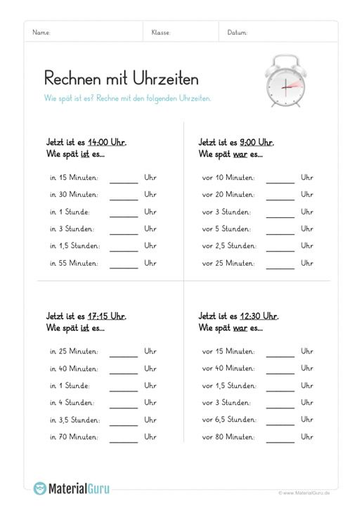 Ein kostenloses Mathe-Arbeitsblatt zum Rechnen mit der Uhrzeit, auf ...