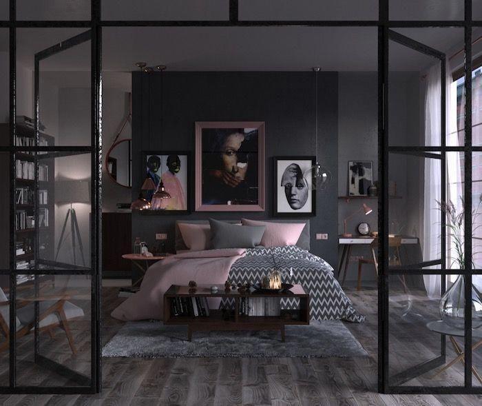 deko ideen schlafzimmer, einrichtung in grau und rosa