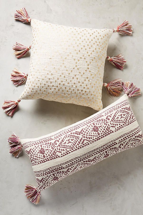 Printed pillows with tassels