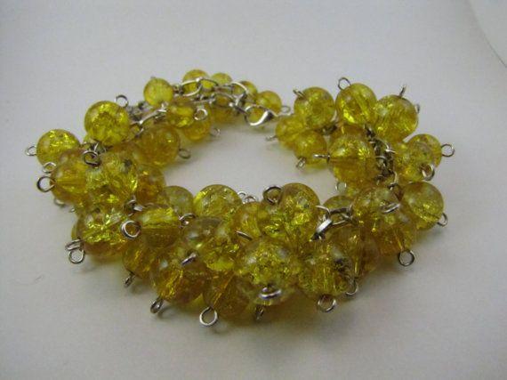 Yellow Owl Charmed Beadburst Bracelet by BranchingHope via @Etsy / Możliwość zamówienia i wysylki również z Polski kontakt: branchinghope@gmail.com