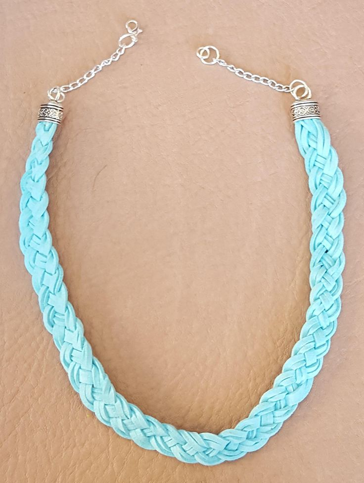 Blue/Turquoise Leather Cord Braided Necklace by KalaaStudio on Etsy