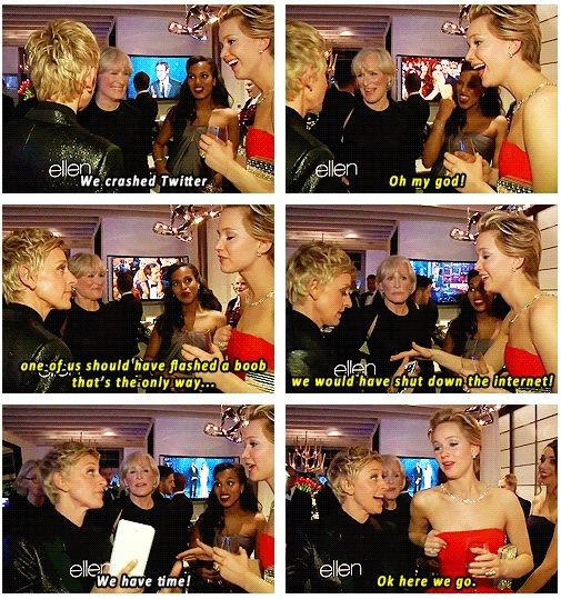 Jennifer Lawrence and Ellen, oh  man I <3 Jennifer Lawrence
