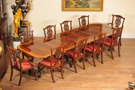 Regency Dining Set Pedestal Table and 10 Chippendale Chairs Mahogany Suite | eBay