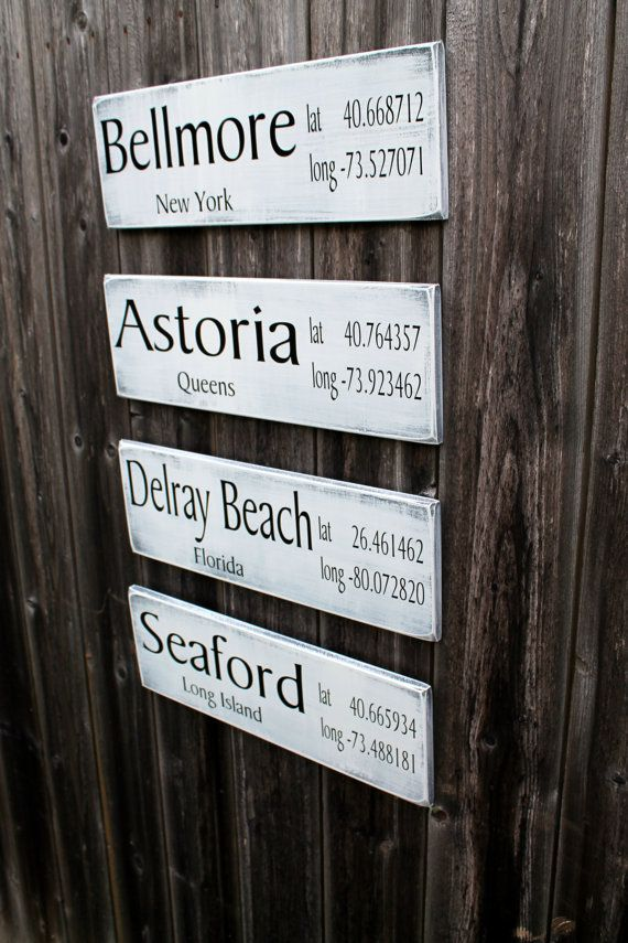 Us Lat Long Map%0A x Custom Wood Signs  Rustic Latitude   Longitude Location Signs  Custom  Made to Order