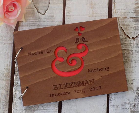 Custom Wedding Guest Book Ampersand Wedding Guestbook Wood