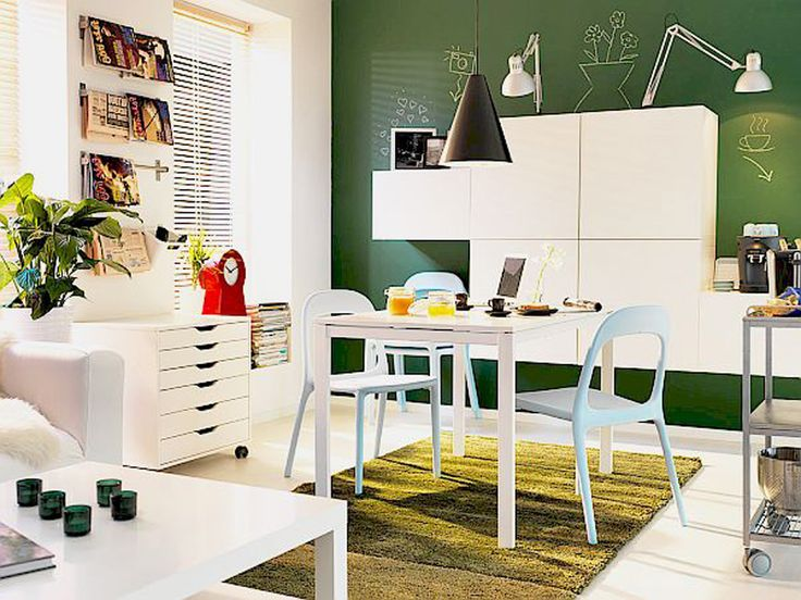 Dining Room Furniture Ideas For Green And White Small Space With Modern Wood Rectangle Shaped
