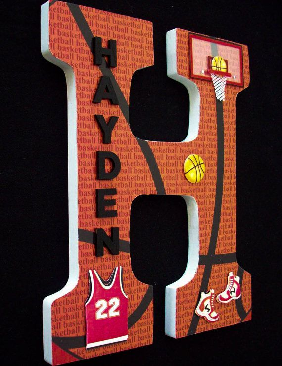 Sports Basketball / Wood Letters/ Wall by cathyscraftycovers