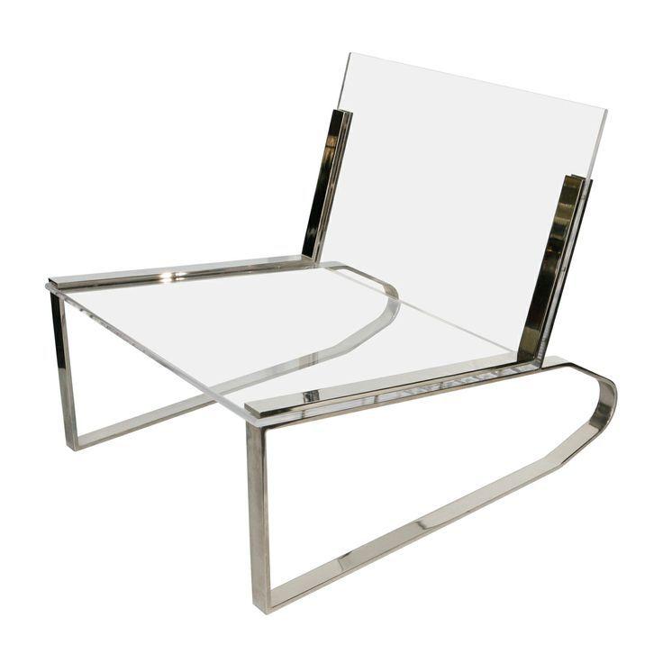 Charles Hollis Jones Lucite And Chrome Chair , Ca.1970u0027s