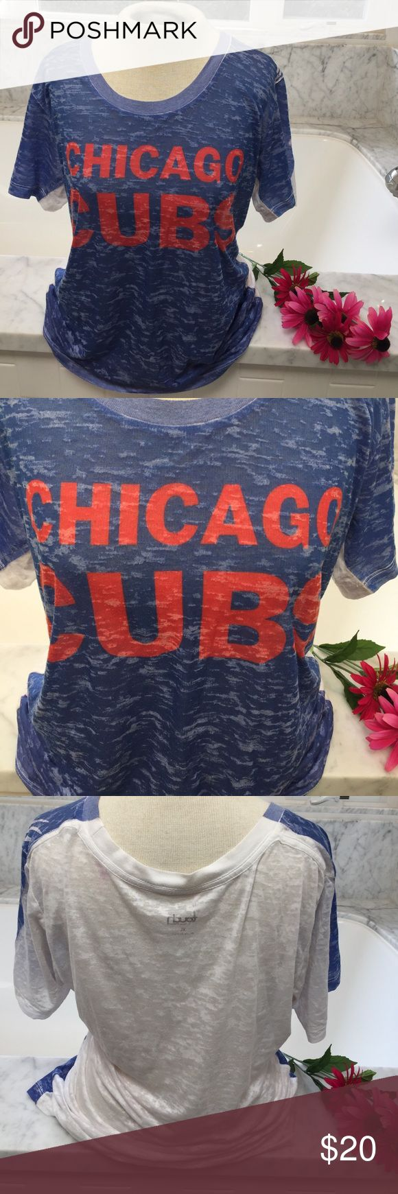 Chicago Cubs burnout T-shirt Awesome Cubs burnout t-shirt in EUC. Touch by Alyssa Milano Tops Tees - Short Sleeve