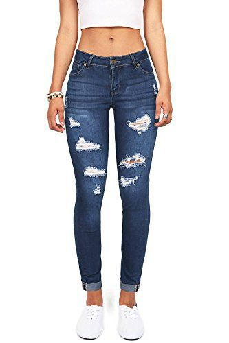 New Trending Denim: Wax Denim Womens Juniors Distressed Slim Fit Stretchy Skinny Jeans (9, Medium Denim). Wax Denim Women's Juniors Distressed Slim Fit Stretchy Skinny Jeans (9, Medium Denim)   Special Offer: $32.50      499 Reviews Slim fit stretchy skinny jeans with cuffed ends and distressing across the front. Traditional 5 pockets with a button and zip fly closure. Everyday casual...
