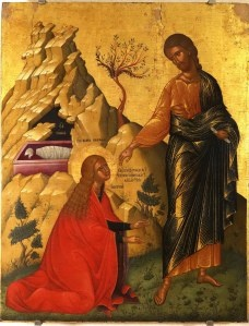 very helpful site explaining symbolism in icons: e.g. http://iconreader.wordpress.com/2011/05/15/what-do-the-objects-held-by-saints-in-icons-mean/