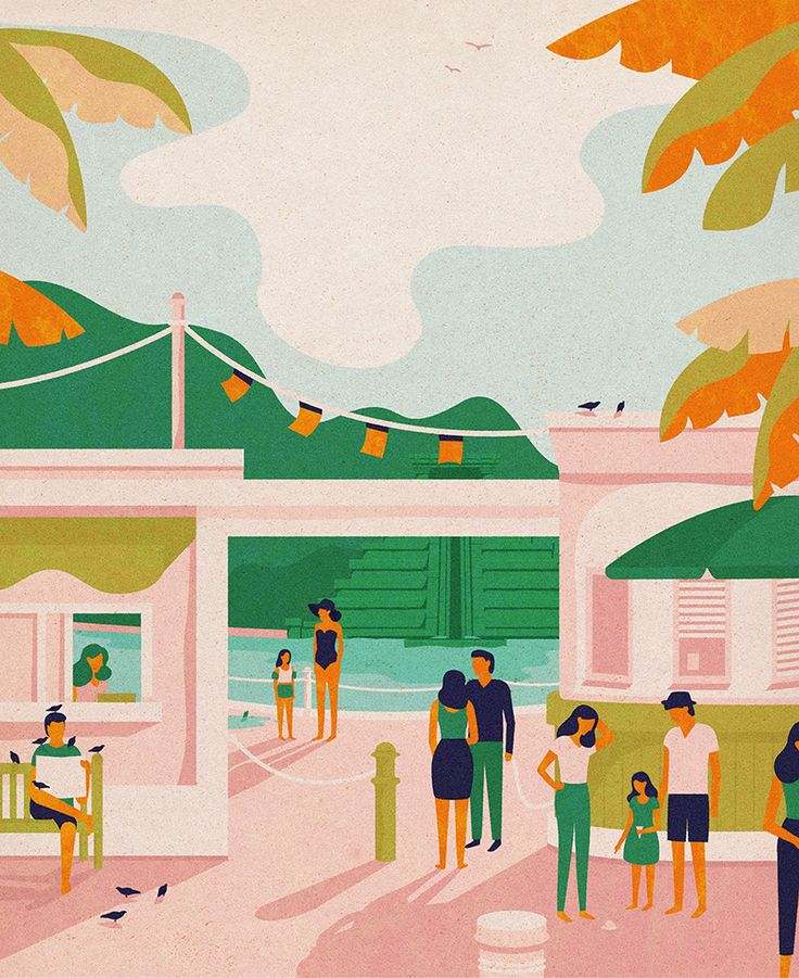 Thomas Cook - Waterparks illustration and color palette