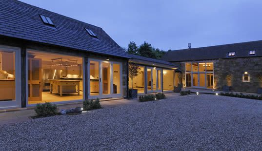 windows and courtyard on a barn conversion.