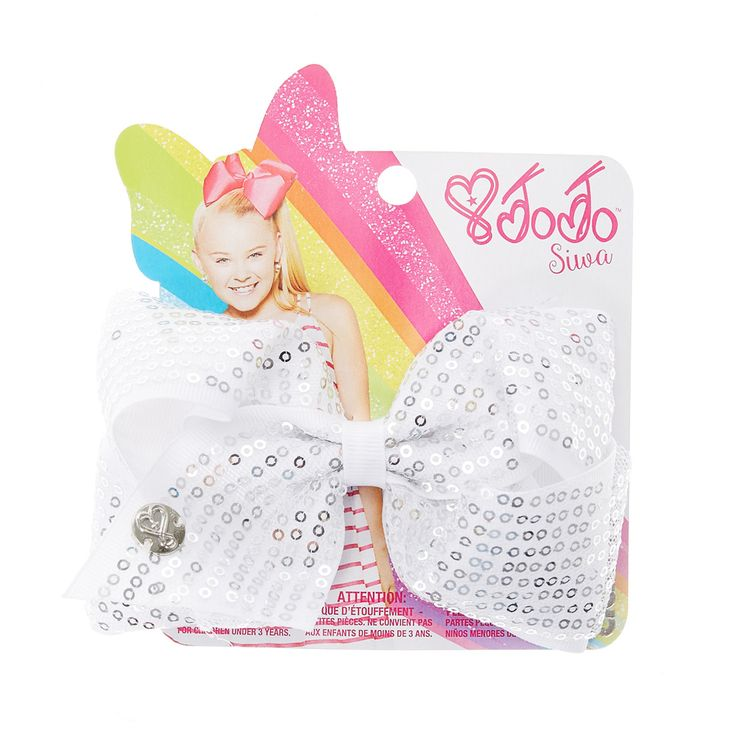 <P>Add some sparkle to your hair with this small white bow from the Jojo Siwa collection. The bow has been attached to a metal salon clip making it really easy to wear and has been covered all over in little silver sequins.</P><UL><LI>Jojo Siwa collection <LI>Small white sequin bow <LI>Metal salon Clip</LI></UL><P>The Jojo Siwa signature bow collection is available at Claire's and has been inspired by Jojo's iconic dance hair styles featuring a fun range of bright and sparkly bows.</P>