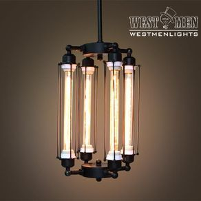 Westmenlights Steampunk Black Iron Chandelier Ceiling Mounted Lamp Vintage Rustic by Rebbeca Luo